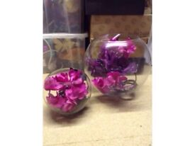2 Glass Bowls with Flowers