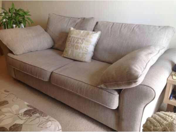 Next Large Garda Sofa Capri Textured Weave Light Mink In
