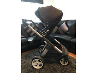 Stokke Crusi complete travel system pram and accessories. (Navy colour)