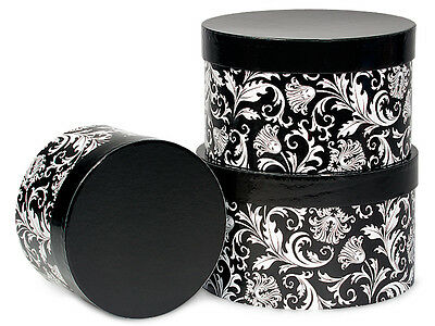 Nested Boxes Set 3 Black Damask Mothers Day Holiday Gift Storage Nesting Tower