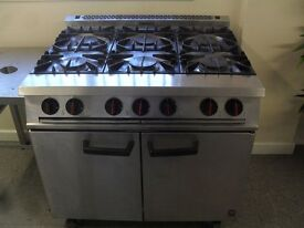 Falcon Six Burner With Oven Natural Gas Commercial Catering Hotel