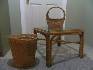 Rattan Coffee Table with Glass top & 2 Basket
