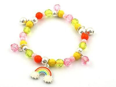 Childrens Multi Color Beaded Stretch Bracelet with Rainbow Charms