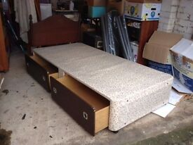 myers single divan bed with storage drawers and a quality clean mattress £40