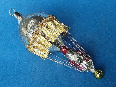 Ballon Luftschiff mit Weihnachtsmann Alter Baumbehang Christbaumschmuck Lauscha