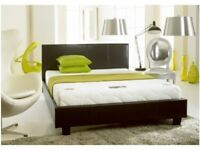 BRAND NEW DOUBLE KINGSIZE FAUX LEATHER BED FRAME WITH CHOICE OF ORTHOPEDIC MEMORY FOAM MATTRESSES