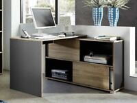 Germania Slide Corner Desk in Anthracite & Light Oak Effect RRP £259.99 40% OFF