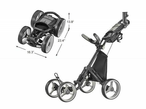 Caddytek Superlite Deluxe Qaud V8 4 Rad Golf Push Trolley schwarz Neu 2019