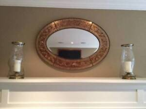 Beveled glass oval wall mirror