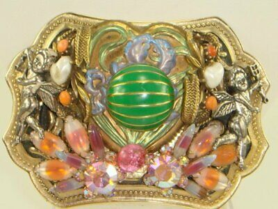 - Vintage Bejeweled Belt Buckle Angels Rhinestones Heart Jeweled