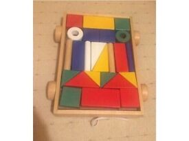 Building blocks with pull along wagon