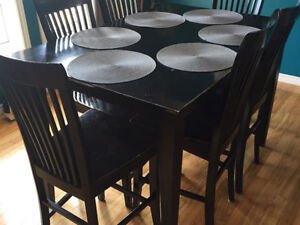 Wood dining set- Table and 8 chairs