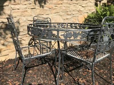 VINTAGE WOODARD Wrought Iron PATIO SET 5 pc. FRUIT Design Table & 4 -