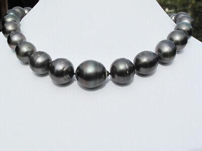 Genuine Tahitian Black Pearl Necklace, Graduated 12-16mm Baroque, 18