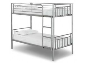 Solid, metal, bunk bed, with, single, ortho, mattress