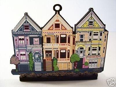 Shelia's STEINER STREET POSTCARD ROW HOUSES San Francisco Wood Ornament