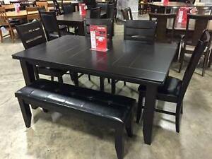 BRAND NEW - Alston Cappuccino 6 PC Dining  Set (Table, 4 Chairs and Bench)