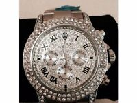 Silver Diamond ice Rolex Watch -