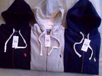 Ralph Lauren Classic Fleece Hoodie full zipper for Men - Small Pony Sweatshirt £25each.