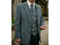 Genuine Harris Tweed Waistcoats and Ties (grey/blue)