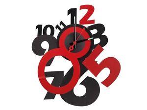 Horloge pendule murale design 50cm autocollante rouge et noire a aiguilles - Pendule rouge design ...