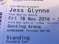 2 x jess Glynn tickets at genting arena Birmingham fri 18th