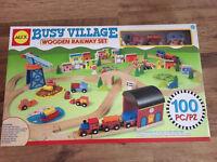 Busy village wooden railway set