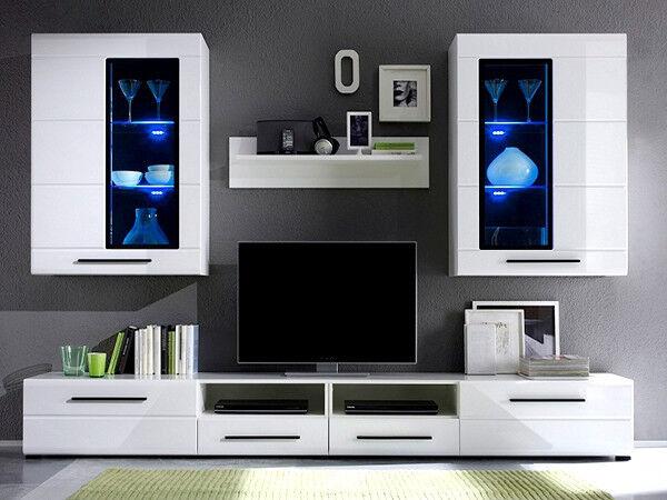 Modern Argus Living Room furniture set white gloss LED ...