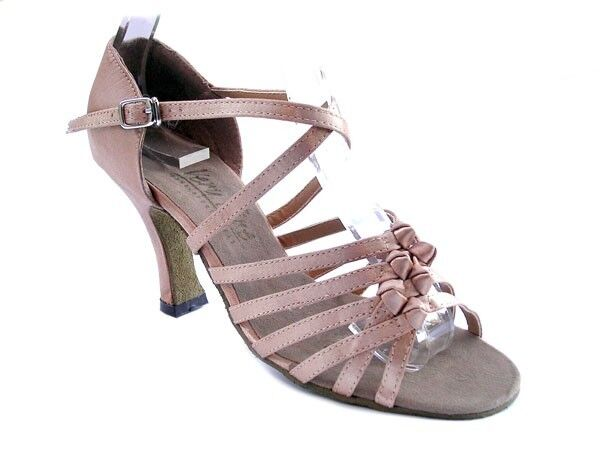 1650 Brown Satin Swing Ballroom Salsa Mambo Latin Dance Shoes heel 2.5 Size 5