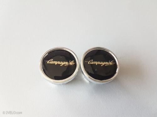 Vintage style Campagnolo script black / gold Handlebar End Plugs