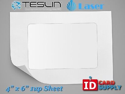 Teslin Synthetic Paper - 4 X 6 Perforated 1-up Laser Sheet