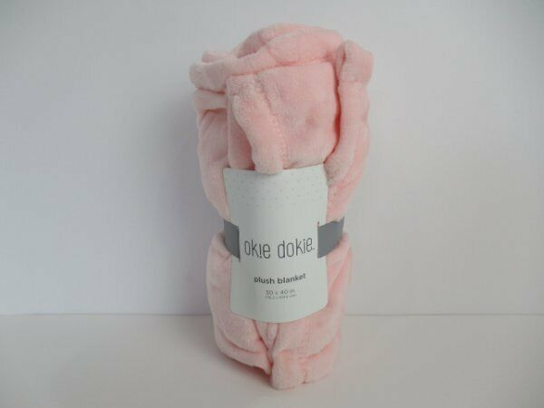 RARE HTF NWT Okie Dokie JC Penney Pink Embossed Hearts Soft Plush Baby Blanket