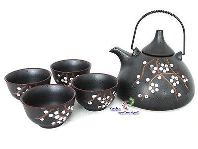 Asiatischer Teeservice Set, Tee Set Teekanne und 4 Teetassen in grau