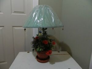 """Flowered Table Lamp (27""""H) with shade still in plastic"""