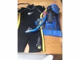 Youth Snorkel and Mask genuine US Divers and Wet Suit