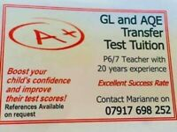 GL & AQE TRANSFER TEST TUTOR/TUITION P6 SPACES AVAILABLE
