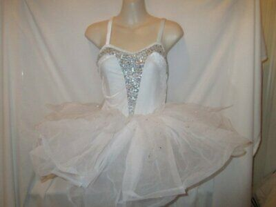 White Adult Tutus (White Velour Silver Sequin Ballet Tutu Dress Dance Costume Large Adult)