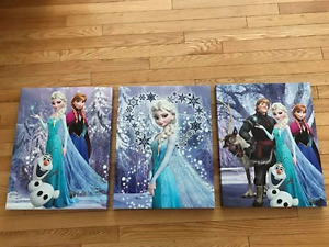 FROZEN movie canvas pictures, set of 3.