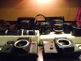 2x Zenit 35mm Cameras Bundle / Lenses / Filters