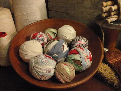 OLDE FARMHOUSE VINTAGE CALICOS 9 RAG BALLS BOWL FILLERS on Rummage