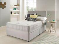 SUEDE DOUBLE DIVAN BED WITH OPEN SPRUNG MEMORY FOAM MATTRESS & HEADBOARD