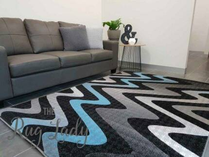 BRAND NEW!!! Extra Large Blue Waves Pattern Floor Rug