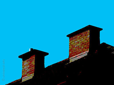 MARIO STRACK - The Roof is on Top 1 Artcard Kamin Bild Fotokunst Karte Bilder