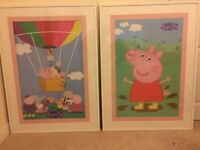 Peppa Pig pictures in white wall frames
