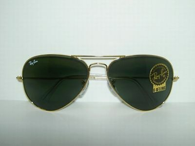 New  RAY BAN  AVIATOR  Sunglasses  GOLD FRAME  RB 3025 W3234  Medium/Small  55mm