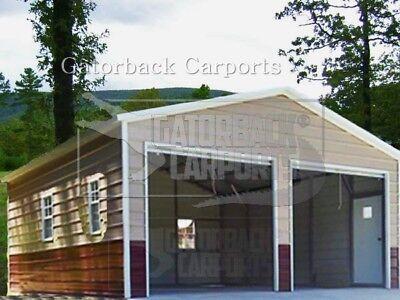 Metal Garage Workshop Fully Enclosed Metal Building 20x26x8 3 Windows