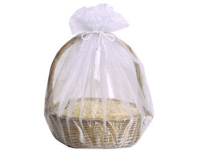3 Sheer White Organza Gift Basket Wraps Tassel Ties Christmas Holiday Weddings - Wholesale Gift Basket Supplies
