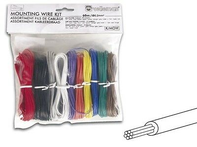 Velleman Kmow Stranded Hook Up Mounting Wire Set 197 Feet-10 Color-24 Awg