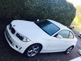 BMW 1 Series coupe - white **DIESEL** low mileage 43000, £30 road tax for year