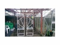 PAIR OF DESIGNER WROUGHT IRON GOTHIC HEAVY TABLES HAND CRAFTED 50X50X190CM GARDEN PLANTERS ETC